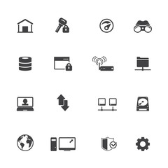 Internet and network icon set
