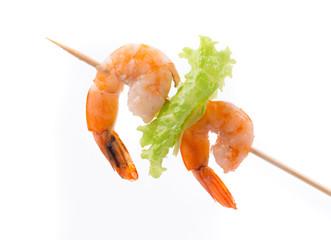 Grilled shrimps on a stick.