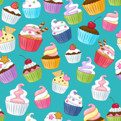 Seamless cupcakes pattern. Colorful background.
