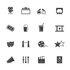 Movie, cinema and theater icon set