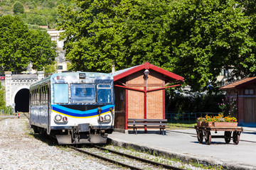 engine coach at railway station in Entrevaux, Provence, France