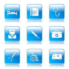 Hospital Health Square Vector Blue Icon Design Set