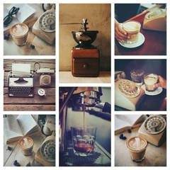 cup of coffee on the wooden desk