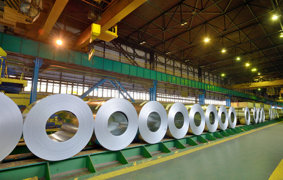 rolls of steel sheet in a plant