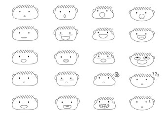 linear cute boy faces emoji