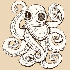 Octopus in retro deep diving suit. Vector illustration