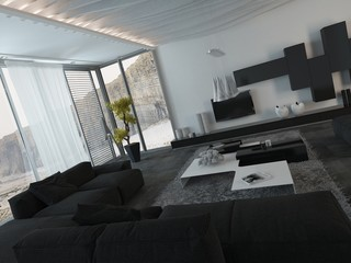 Architectural Living Room with Black Furniture