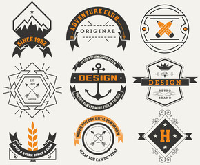 Logotypes set / Vintage Insignias. Vector design elements, logos