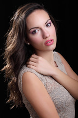 Indoor portrait of beautiful young woman