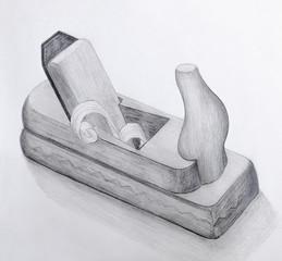 Wood Plane Pencil Drawing