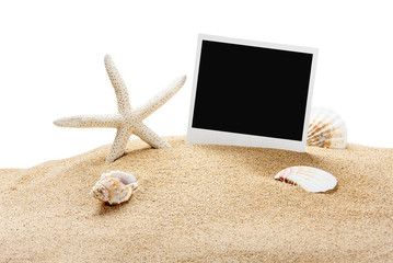 seashells and old picture frame isolated on white