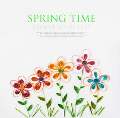 colorful flowers made quilling for spring time