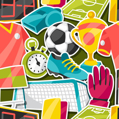Sports seamless pattern with soccer sticker symbols.