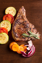 Grilled meat with vegetables and rosemary