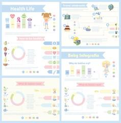 Набор из 4 различных Инфографика - здоровой жизни