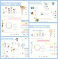 Набор из 4 различных Инфографика - здоровье и спортивной жизни