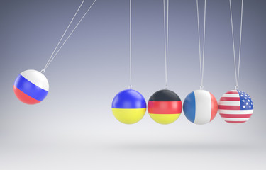 colorfull newtons cradle in action