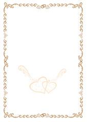 Original gold frame with hearts for congratulation