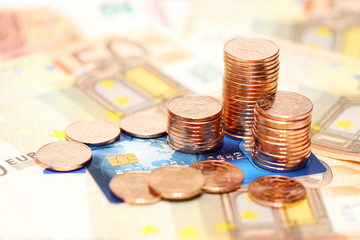 European money euros and credit card background