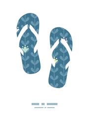 Vector blloming vines stripes flip flops silhouettes pattern