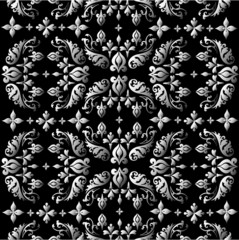 Seamless ornate background - silver