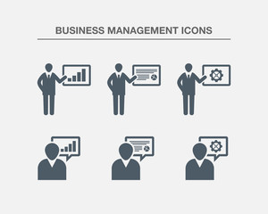 Business Management Icons 1 (Black white Version)