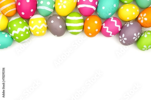"""""""Colorful Easter Egg Top Border Against White"""" Zdjęć"""
