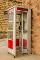 Red and White Phone Booth