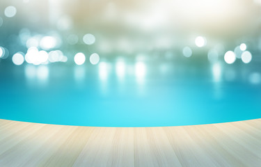 Wooden floor tropical swimming pool , soft and blur