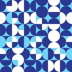 Seamless Intersecting Geometric Vintage Circle Pattern. Blue and