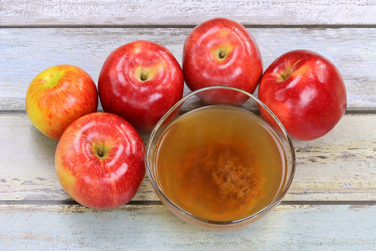 Raw, unfiltered organic apple cider vinegar with mother enzymes