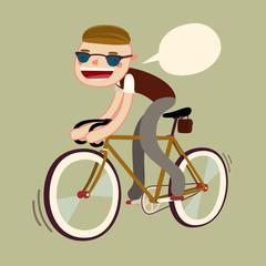 hipster boy riding bike