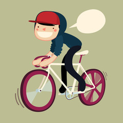 boy riding bike cartoon character. hipster rider saying.