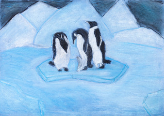 penguins on ice floe in cold blue night