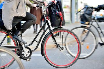 Scandinavian woman on bike