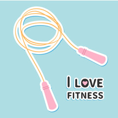 Skipping jumping rope I love fitness icon Sport background Flat