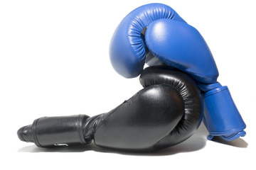 blue and black boxing gloves