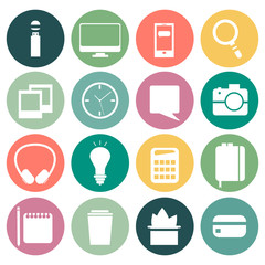 Set of flat modern design vector icons of office workspace.