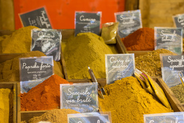 Assortment of colored kitchen spices powder