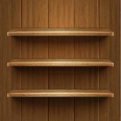 Blank wooden bookshelf. Vector illustration