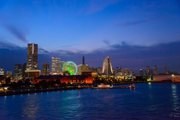 Fototapeta Skyscrapers at Minatomirai, Yokohama in the twilight
