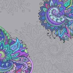 Vector frame of the indian floral ornament