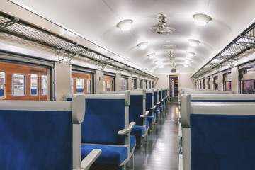 Train Interior with seat in row, Travel Transportation concept