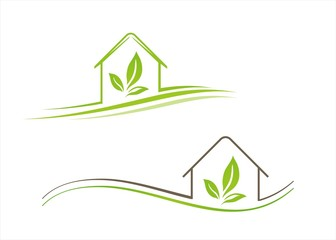 Home , architecture , icon, green business logo design
