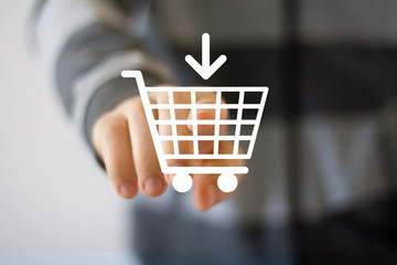 Hand press on Shopping Cart icon