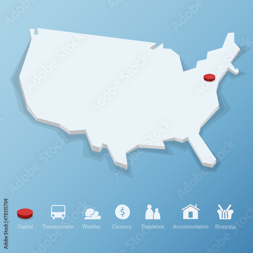 United States of America map with tourism icon in flat design Stock