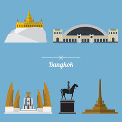 A set of Bangkok city landmark in flat design. Vector