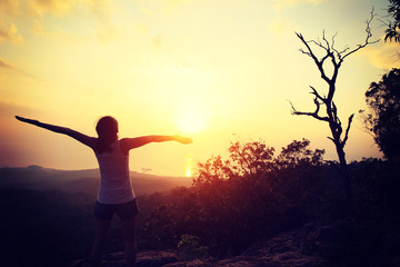cheering woman hiker open arms at on mountain peak rock