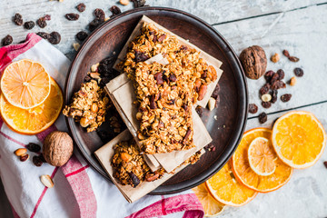 Homemade citrus granola protein bars with peanut butter, honey,