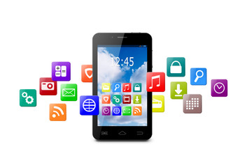 Touchscreen smartphone with cloud of colorful application icons